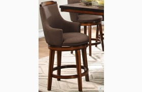 Bayshore Brown Swivel Counter Height Chair Set of 2