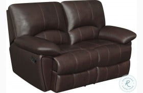 Clifford Chocolate Leather Reclining Loveseat