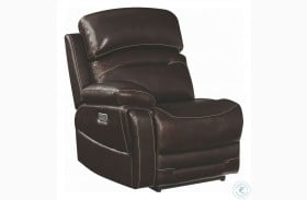 Amanda Dark Brown Leather LAF Power Recliner With Power Headrest