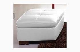 625 White Italian Leather Ottoman