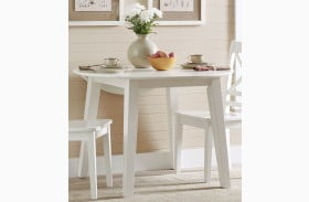 Simplicity Paperwhite Extendable Round Drop Leaf Dining Table