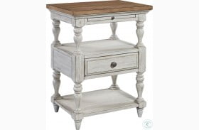 Farmhouse Reimagined Antique White Finish 1 Drawer Nightstand