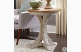 Farmhouse Reimagined Antique White Round Chairside Table