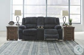 Draycoll Slate Double Power Reclining Loveseat with Console