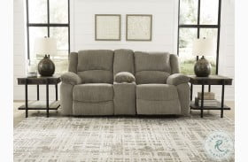 Draycoll Pewter Double Power Reclining Loveseat With Console