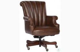 Coffee Ribbed Back Leather Executive Chair