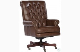 Coffee Tufted Back Leather Executive Chair