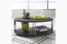 Paxton Charcoal And Chrome Oval Cocktail Table