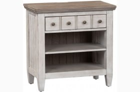 Heartland Antique White 1 Drawer Nightstand with Charging Station
