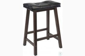 """Mona Black Upholstered 24"""" Cushion Saddle Seat Stool"""