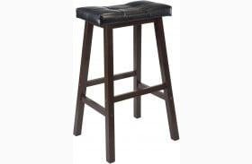"""Mona Black Finish Upholstered 29"""" Cushion Saddle Seat Stool"""