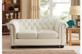 Monaco Pearl White Leather Loveseat