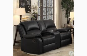 Clarkdale Black Double Glider Reclining Loveseat with Center Console