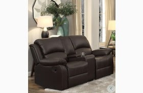 Clarkdale Dark Brown Double Glider Reclining Loveseat with Center Console