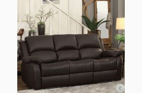 Clarkdale Dark Brown Double Reclining Sofa with Drop Down Table