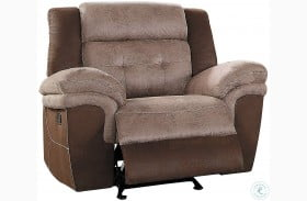 Chai Two Tone Brown Glider Reclining Chair