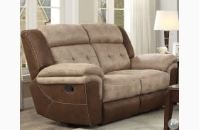 Chai Two Tone Brown Double Reclining Loveseat