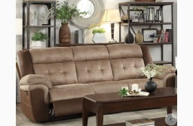 Chai Two Tone Brown Double Reclining Sofa