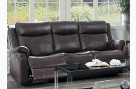 Yerba Dark Brown Double Lay Flat Reclining Sofa