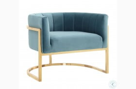 Magnolia Sea Blue and Gold Chair