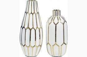 Mohsen Gold and White Vase Set of 2