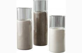 Deus Gray and White Candle Holder Set of 3