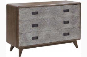 Modern Authentics Metal Front Dark Oak Drawer Chest