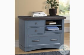 Americana Modern Denim Functional File Cabinet With Power Center