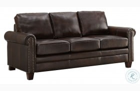 DS-A928-680 Brown Stationary Leather Sofa
