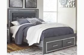 Lodanna Gray Upholstered Panel Storage Bed