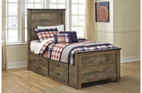 Trinell Brown Youth Panel Bed Drawer Storage