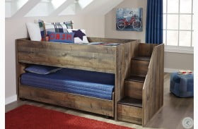 Trinell Brown Twin Loft Bed with Pull Out Caster Bed