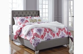 Coralayne Gray Textured Full Upholstered Panel Bed