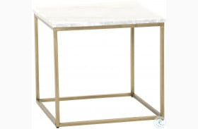 Carrera Brushed Gold And White End Table