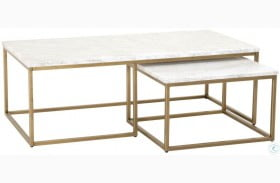 Carrera Brushed Gold And White Nesting Coffee Table