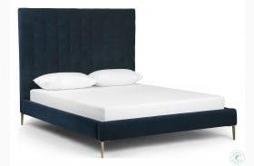 Ashford Plush Navy Rennie Tall Upholstered Platform Bed