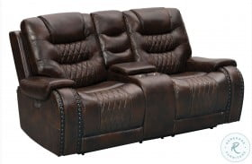 A889U-305-1749 Brown Leather And Fabric Power Reclining Console Loveseat