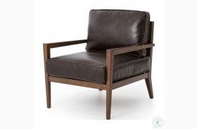 Kensington Dark Brown Leather Laurent Accent Chair