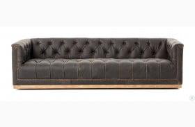"""Kensington Destroyed Black Maxx Leather 95"""" Sofa"""