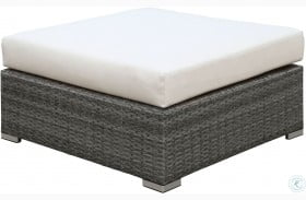 Somani Gray and Ivory Large Ottoman