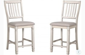 Kaliyah Antique White Counter Height Chair Set of 2