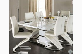 Midvale White and Chrome Extendable Rectangular Dining Table