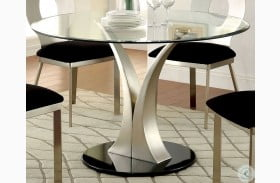 Valo Satin Plated Round Pedestal Dining Table