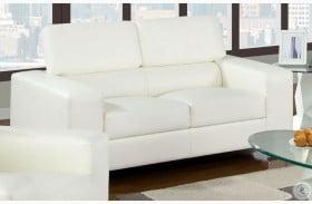 Makri White Bonded Leather Match Loveseat