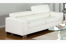 Makri White Bonded Leather Match Sofa
