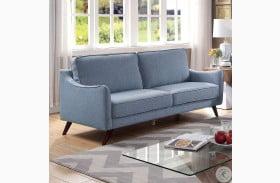 Maxime Blue Oak Sofa