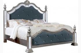 Azha Silver Upholstered Poster Bed