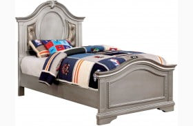 Claudia Silver Gray Youth Upholstered Panel Bed