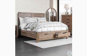 Wynton Weathered Light Oak Storage Platfrom Bed