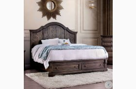 Amadora Walnut Storage Panel Bed